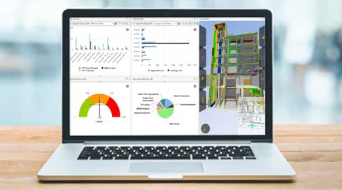 colorful construction accounting software dashboard on a laptop